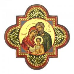 Greek icon Holy Family screen printed 19x19 cm
