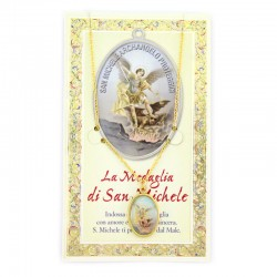 Card with medal and chain of Saint Michael