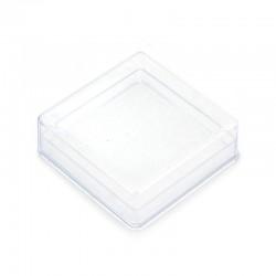 Square plastic case with sponge 6x2,2x6 cm