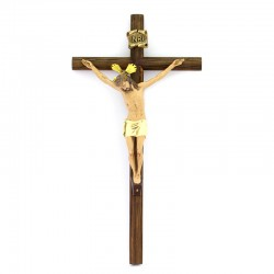 Wooden crucifix Jesus painted plastic 21x40 cm