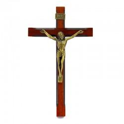 Wooden wall crucifix bronzed metal body 14,5x24,5 cm