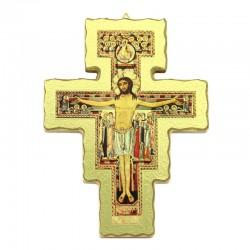 Saint Damien crucifix in gilded wood 17x22 cm