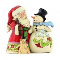 Santa Claus with snowman 12 cm Jim Shore 6009004