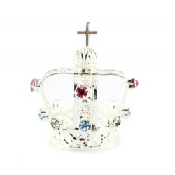 Crown for statue in silver metal with rhinestones