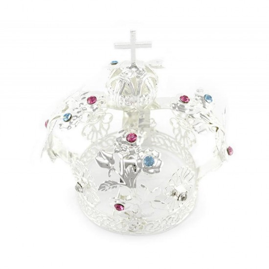 Crown for statue in silver metal with rhinestones Diameter 5 cm