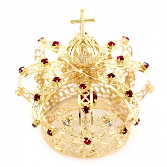 Crown for statue in metal with red rhinestones Diameter 4 cm