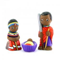 Masai Nativity scene in painted terracotta 7 cm 3 pcs