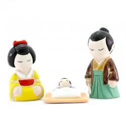 Japanese Nativity scene in painted terracotta 7 cm 3 pcs