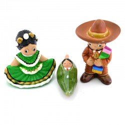 Mexican Nativity scene in painted terracotta 7 cm 3 pcs