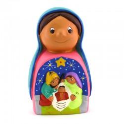 Virgin with Nativity scene in colored terracotta 14 cm