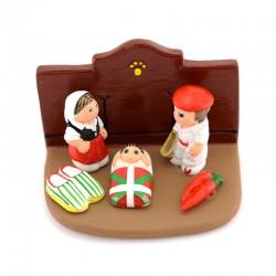 Basque Region of France Nativity scene in terracotta 8,5x5,5 cm
