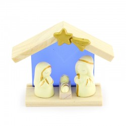 Nativity scene hut in wood and glass 9,5x8 cm