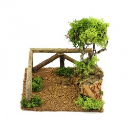 Tree with fence for the nativity scene 15x15x15 cm