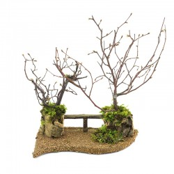 Dry trees with fence for 20x24 cm nativity scene