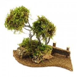 Trees with fence for nativity scene 19x19 cm