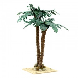 Double palm with oasis for nativity scene 23 cm