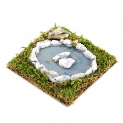 Pond with water effect for nativity scene 15x15 cm