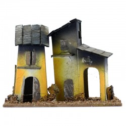 House for nativity scene wood and cardboard model A 13x10x8 cm