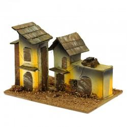 House for nativity scene wood and cardboard model C 13x8.5x8 cm