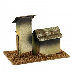 House for nativity scene wood and cardboard model D 13x9.5x8 cm