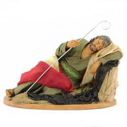 Sleeping St Joseph in dressed terracotta 30 cm