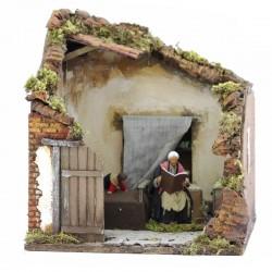 Moving scene of grandmother storyteller in dressed terracotta 12 cm