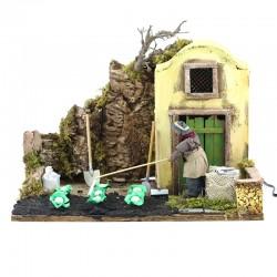 Moving scene of farmer in dressed terracotta 12 cm