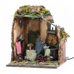 Moving scene of washerwoman with fountain in dressed terracotta 12 cm