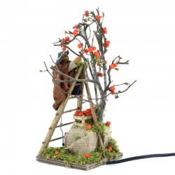 Moving Man on ladder with tree in dressed terracotta 10 cm