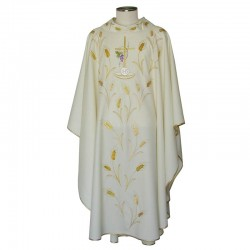 Chasuble embroidery Cross ears grape in pure wool