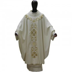 Chasuble embroidery golden ornate in pure wool
