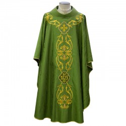 Chasuble golden Embroidery in moiré silk wool
