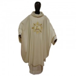 Chasuble Lamb and golden Rays embroidery in pure wool