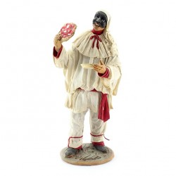 Terracotta Pulcinella with Clothing with Pizza 30 cm