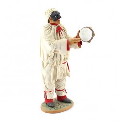Terracotta Pulcinella with Clothing and Tambourine 30 cm