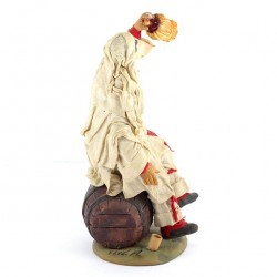 Terracotta and Clothing Pulcinella on Barrel with Flask 20 cm