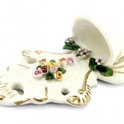 Ceramic Flower Cross Holy Water Font 16 cm