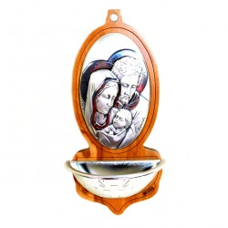 Silver Holy Water Font Holy Family 13x6.5 cm