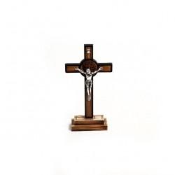 Olive Wood St. Benedict Crucifix 14x7 cm