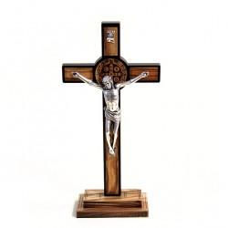 Olive Wood St. Benedict Crucifix 21x10 cm