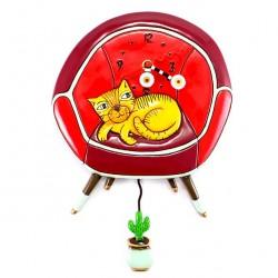 Cat on chair Clock 37x24 cm Allen Designs