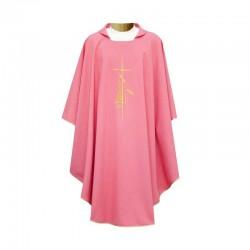 Casula rosa Croce e Lampada in poliestere