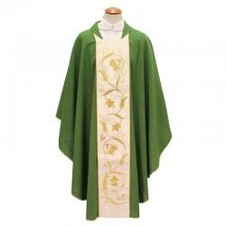 Casula in pura lana con stolone floreale oro