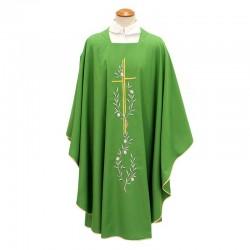 Casula liturgica in misto lana ricamo Croce e ulivi