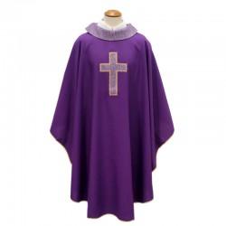 Casula liturgica in poliestere ricamo Croce