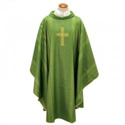Casula liturgica in tessuto misto lana e seta verde rigata
