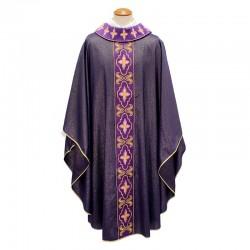 Casula viola in lana Croci ed ornati oro collo ad anello