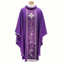 Casula liturgica viola stolone ricamato collo ad anello