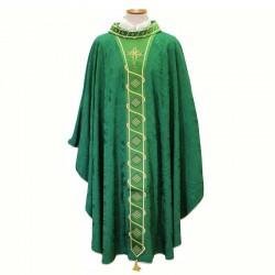 Casula verde tessuto jacquard Croce e Rombi