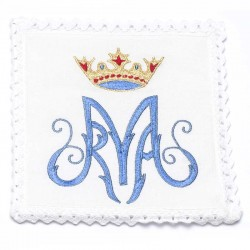 Servizio da Messa Mariano con corona in puro lino